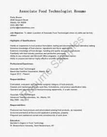 resume format for freshers food technologist great sle resume resume sles associate food technologist resume sle