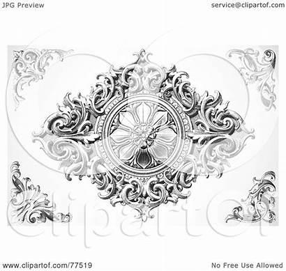 Wood Carved Digital Elements Collage Floral Clipart