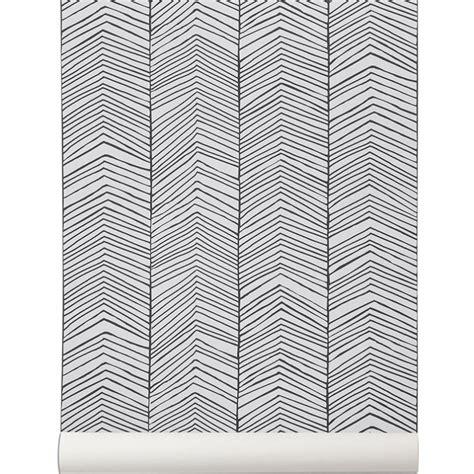 bureau de poste 10 papier peint noir et blanc herringbone de ferm living