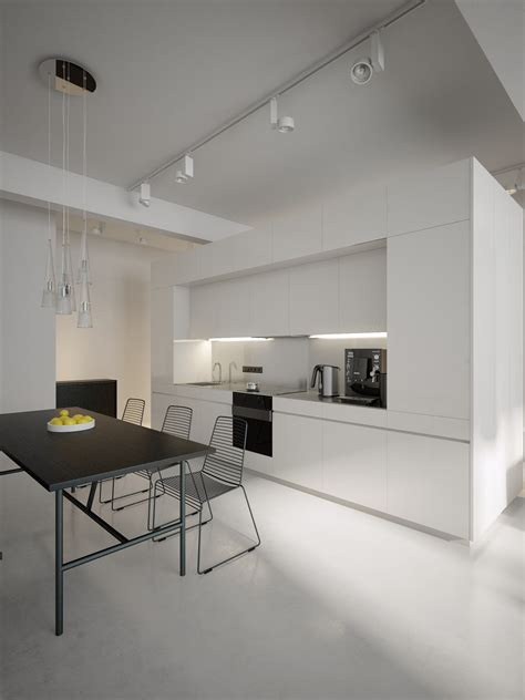 Beautiful Modern Minimalist Loft With A View by Modern White Kitchen Diner Interior Design Ideas