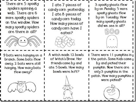 halloween october math story word problems 1st grade