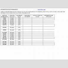 Interest Rates Worksheet Graphic Organizer For 11th  12th Grade  Lesson Planet