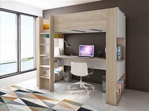 Lit Avec Bureau : lit mezzanine noah avec bureau rangements int gr s 90x200cm ~ Teatrodelosmanantiales.com Idées de Décoration