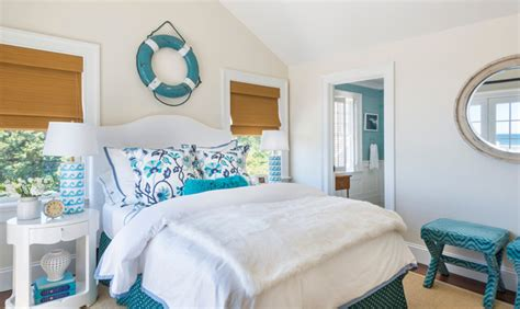 White And Turquoise Cottage Bedroom  Cottage Bedroom