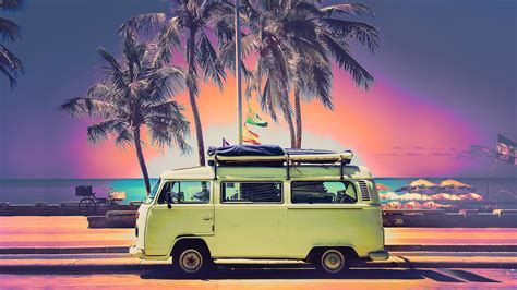 hd vw beach trip desktop wallpaper