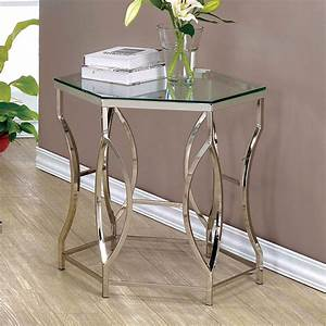 Furniture, Of, America, Joslyn, Contemporary, Glass, Top, End, Table, Chrome, -, Walmart, Com