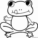 Frog Coloring Pages Printable Frogs Easy Outline Cartoon Dart Poison Funny Simple sketch template
