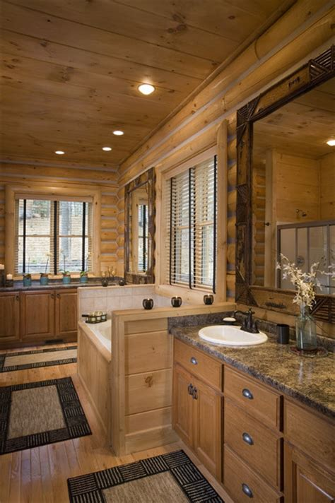 bathrooms  rustic  log home eclectic bathroom