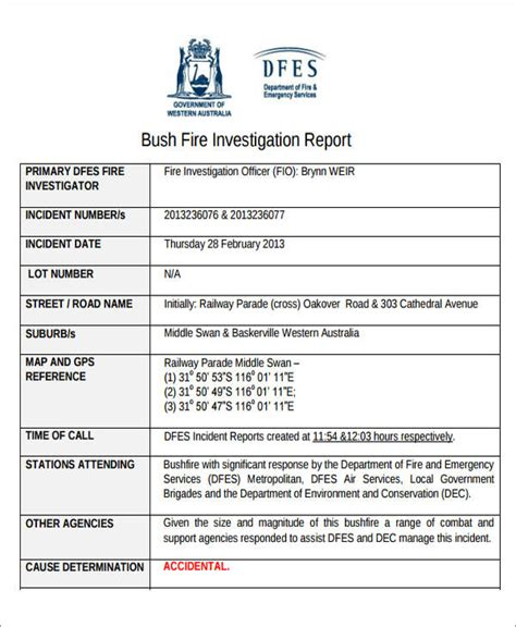 fire incident investigation form 45 incident report formats sle templates