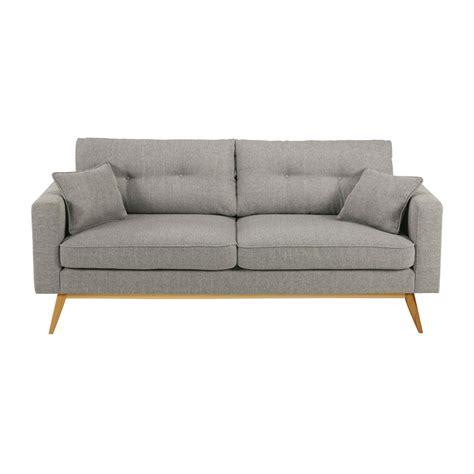 canapé tissu gris chiné canapé 3 places en tissu gris clair maisons du monde