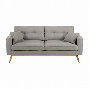 canape 3 places en tissu gris clair brooke maisons du monde With tapis exterieur avec canapé vintage 3 places