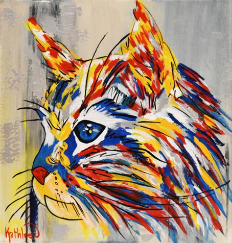 Abstract Black Cat Painting by Cat Canvas Cat Portrait Abstract Painting Painting By
