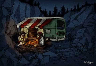 Camping Caravan Camper Animated Camp Drawing Gifs