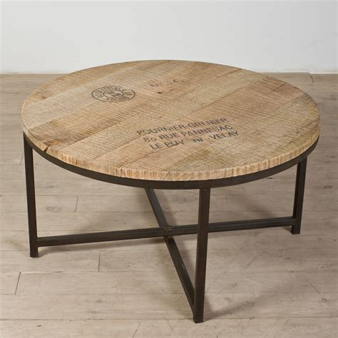 Inexpensive Outdoor Kitchen Ideas - industrial coffee table with round reclaimed wooden top and metal base ideas