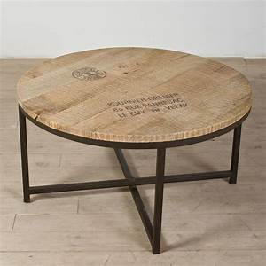 Industrial Coffee Table With Round Reclaimed Wooden Top