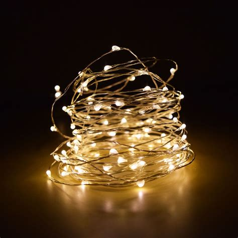 100 Warm White Led Fairy Wire Waterproof String Lights