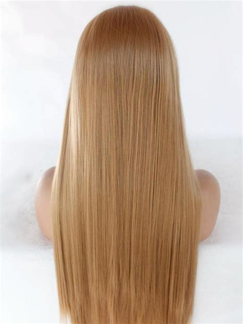 strawberry blonde long straight lace front wig