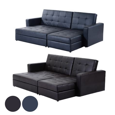Leather Corner Settee by Deluxe Faux Leather Corner Sofa Bed Storage Sofabed