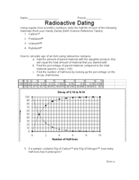 radioactive dating worksheet for 9th 12th grade lesson