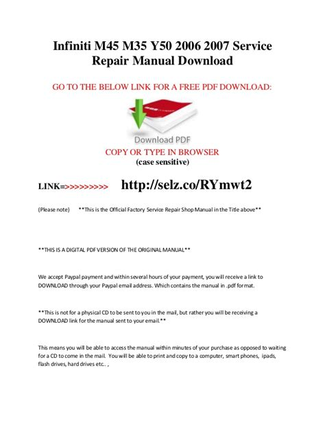 car repair manuals online free 2007 infiniti m regenerative braking infiniti m45 m35 y50 2006 2007 service repair manual download