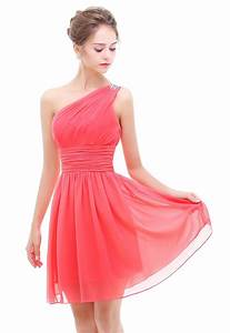 Coral One Shoulder With Beaded Short Bridesmaid Prom ...