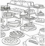 Coloring Bakery Pages Food Bread Adult Adults Printable Cake Drawing Only Baking Colouring Sheets Cupcake Painting Supplies Visit Find sketch template