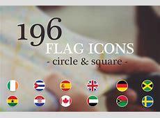 Flat World Flag round & rectangle ~ Illustrations on