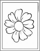 Daisy Coloring Pages Single Cute Colorwithfuzzy sketch template