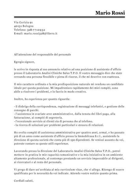 Lettera All Ufficio Personale by Esempio Lettera Di Presentazione Assistente D Ufficio