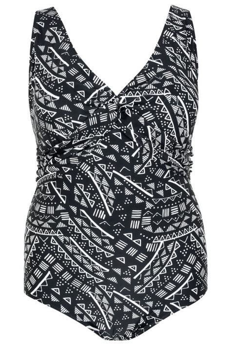 swimsuit monochrome tribal plunging werpen maillot swimsuits swimwear double