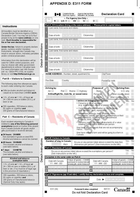 nexus application form canada declaration nexus declaration form