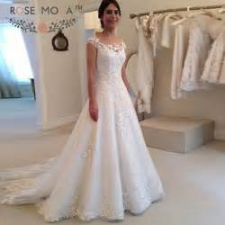 lace wedding gowns with sleeves aliexpress buy sheer bateau neck cap sleeves lace a line wedding dress illusion lace