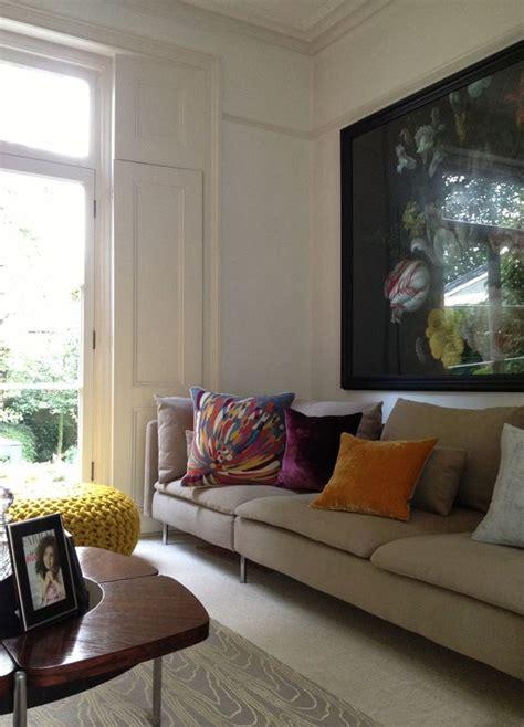 ikea soderhamn sofa hack mid century coffee table vintage decanters surface view
