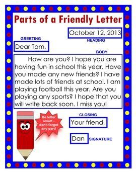 friendly letter anchor chart  worksheet packet