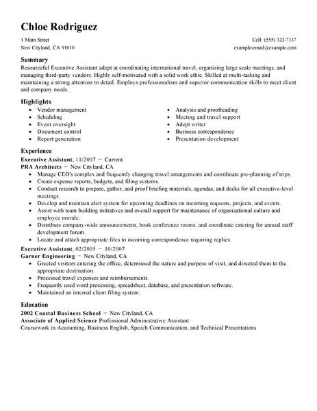 executive administrative assistant resume sle best