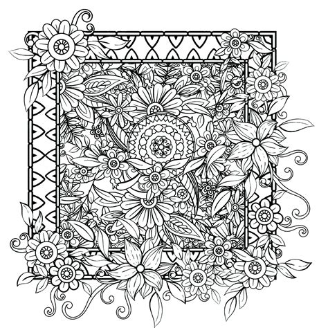 Flowers coming out of the frame Flowers Adult Coloring Pages