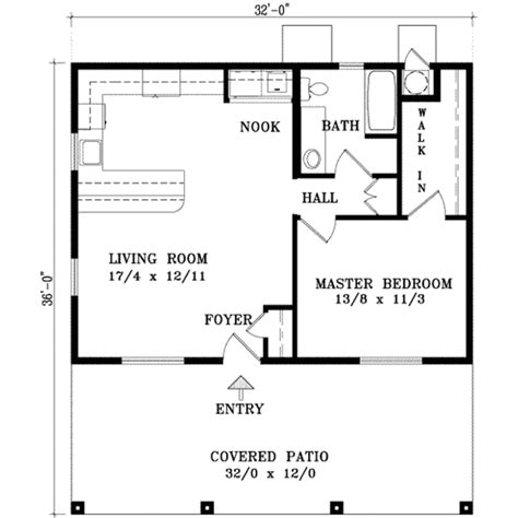 Cabin Style House Plan  1 Beds 1 Baths 768 Sqft Plan #1127