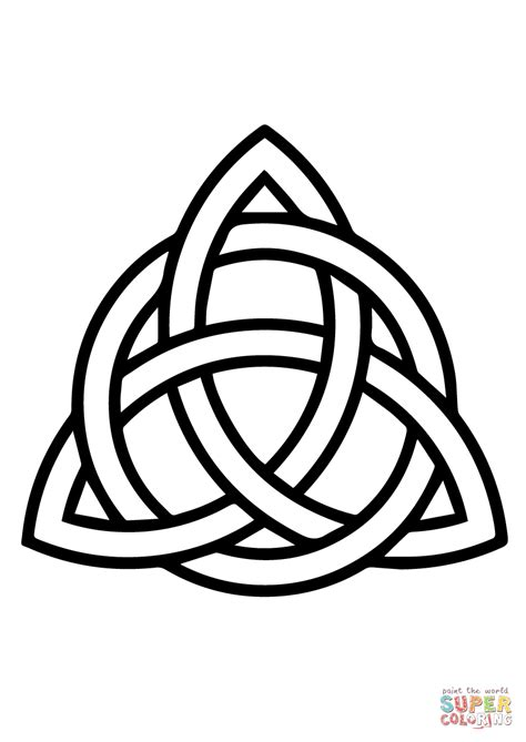 celtic triquetra circle interlaced coloring page