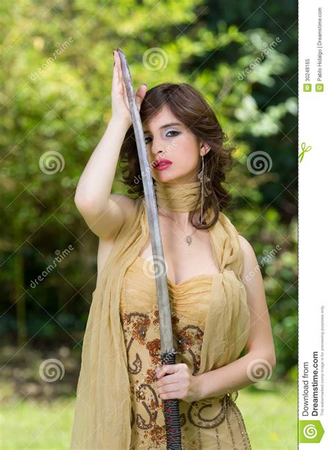 beautiful female fighter   sword royalty  stock