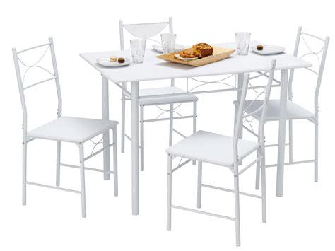 chaise électrique table de cuisine 4 chaises métal bois blanc combo