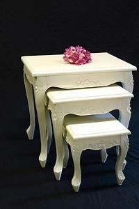 Beistelltische Weiß : beistelltisch 3er set antiken stil in creme wei tische ~ Pilothousefishingboats.com Haus und Dekorationen