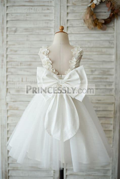 princess ivory lace tulle   wedding flower girl dress
