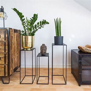 Trio, Metal, Plant, Stand, With, High, Square, Rack, Flower, Holder