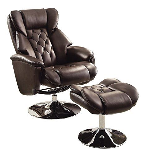 brown leather chair with ottoman homelegance 8548brw 1 swivel reclining chair with ottoman