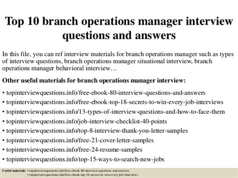 Questions For Production Manager And Answers by Top 10 Branch Operations Manager Questions And