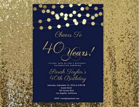 birthday invites navy blue  gold  birthday