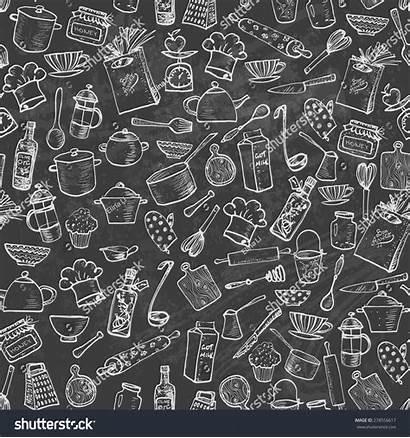 Texture Kitchen Utensils Seamless Vector Doodle Sketch