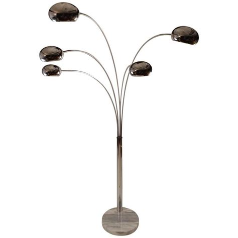 chrome arc floor l five light chrome and marble arc l for sale at 1stdibs