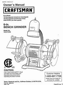 Craftsman 152211240 User Manual Bench Grinder Manuals And