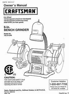 Craftsman 152211240 User Manual Bench Grinder Manuals And